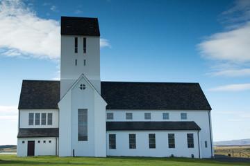 White church Skálholtdómkirkja in Iceland