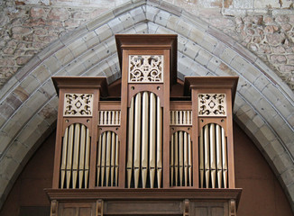 The Pipes of a Traditional Church Music Organ.