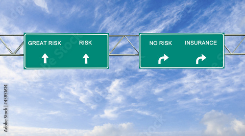 Road sign to risk and insurance