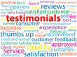 """TESTIMONIALS"" Tag Cloud (customer service satisfaction quality)"