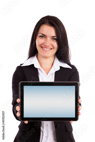 Young businesswoman showing tablet isolated on white background