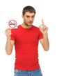 man in red shirt with no smoking sign