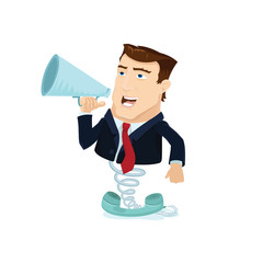 Business man popping out behind telephone with a megaphone with