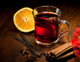 Fototapety Hot wine for Christmas with delicious orange and spic