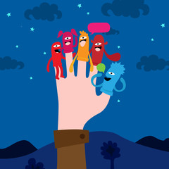 Hand with puppets on finger