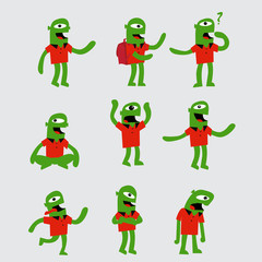 Green funny character in different poses