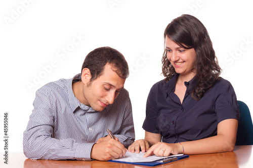 Financial Consultant and Client Signing