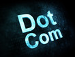 Information technology IT concept: pixelated words Dot Com on di