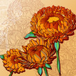 vector vintage background with orange chrysanthemums