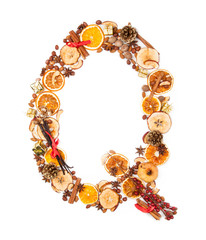 """Letter """"Q"""" made of Christmas spices"""