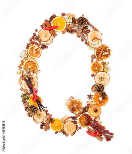 "Letter ""Q"" made of Christmas spices"