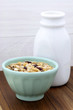 Delicious and healthy muesli with fresh milk