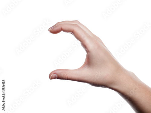 Woman hand presenting -open- - isolated