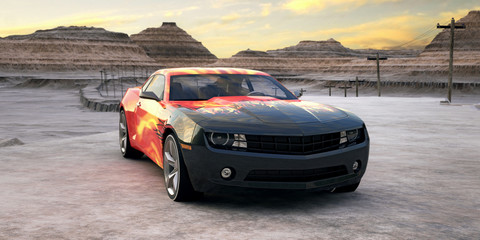 sport car in sunrise desert 3d scene