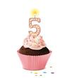 Cupcake mit Kerze und die Zahl 5