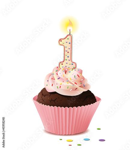 Cupcake mit Kerze und die Zahl 1