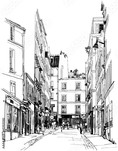 street near Montmartre in Paris - 45959280