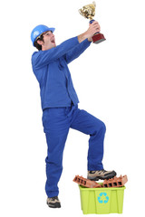 Elated tradesman celebrating his win