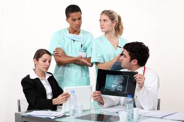 Hospital staff hard at work