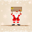 vector illustration of Santa Claus with Merry Christmas board