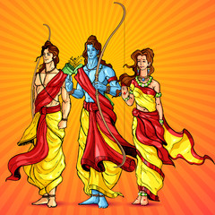 vector illustration of Lord Rama,Laxmana and Sita