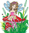 Little fairy sitting on the mushroom