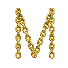 3d Gold Chain Alphabet Font - M