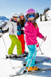 Skiing, winter, sports- skiers on mountainside