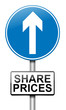 Share price increase.
