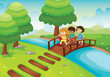kids crossing bridge
