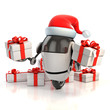 robot santa claus with gift box