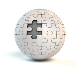 spherical jigsaw with one piece missing