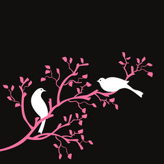 oiseaux sur branche rose fond noir