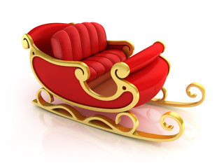 Christmas Santa sleigh - red and golden sledge isolated