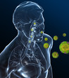 Grüne Viren befallen den Atemwegstrakt