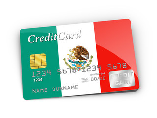 Credit Card covered with Mexico flag.