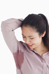 Woman looking at sweat patches