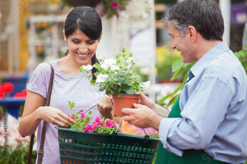 Woman buying plants