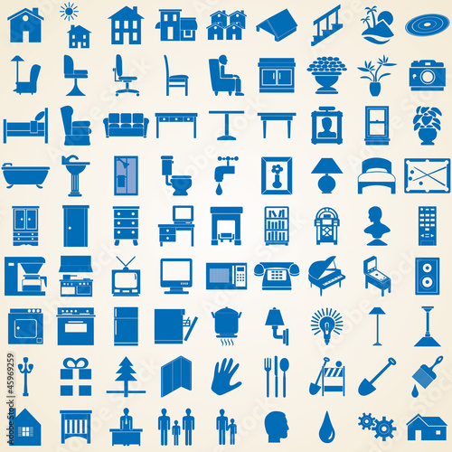 Household icons, set of various interior furniture silhouettes