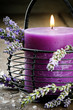 Candle with lavender flowers