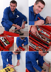 collage of handyman with toolbox
