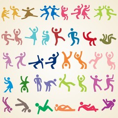 People dance icons, set of various dancing silhouettes icons