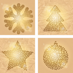 Set of 4 Christmas winter backgrounds. Vector illustration.
