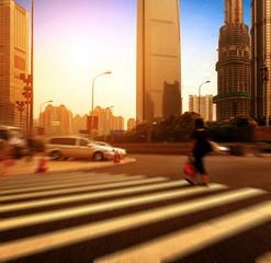 Shanghai street and pedestrian