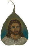 Painting on Peepal Leaf - Jesus