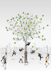 Money tree with business people trying to collect bills