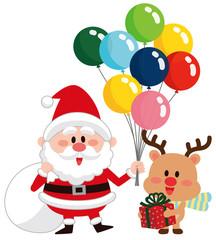 クリスマス 風船 サンタクロースとトナカイ