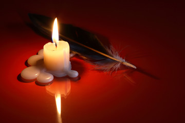 Quill Pen And Candle