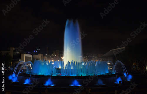 view of famous Montjuic Fountain in Barcelona. Spain.