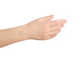 Hand on white background something holding